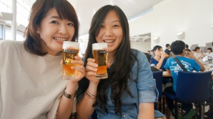 Eri and I enjoying our super cold beer.